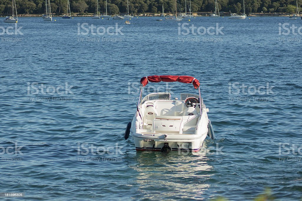 parked speed boat royalty-free stock photo