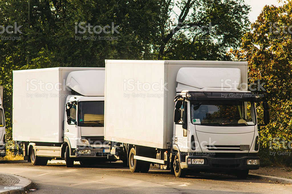 Parked trucks stock photo