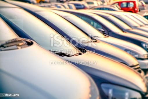 133277230 istock photo Parked vehicles on a public dealership in Hamburg, Germany 915649428
