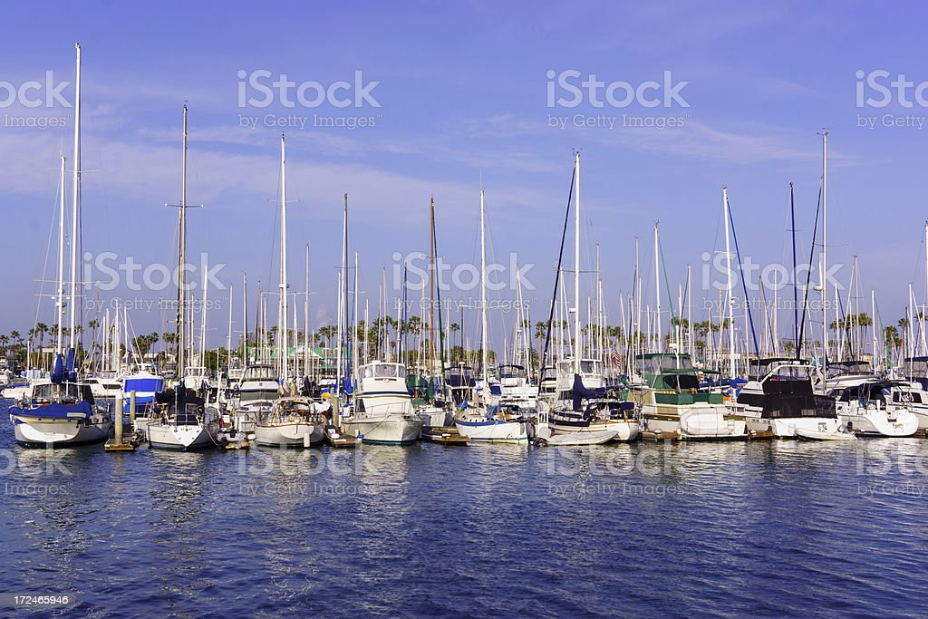 Parked Yoats in Longbeach royalty-free stock photo