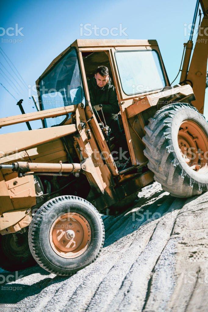 Parking a Bulldozer stock photo
