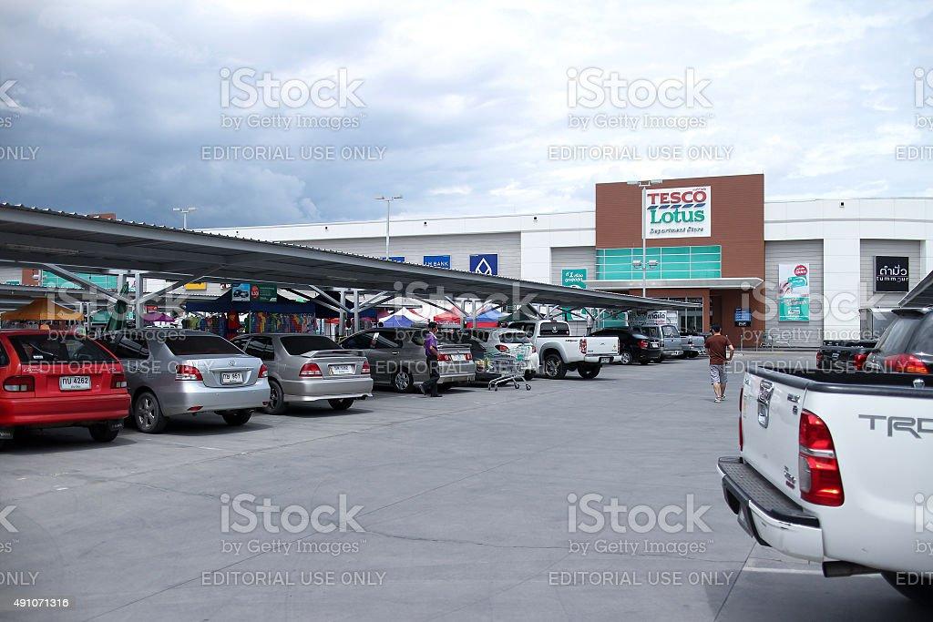 Parking Area of Tesco Lotus Meechok. stock photo