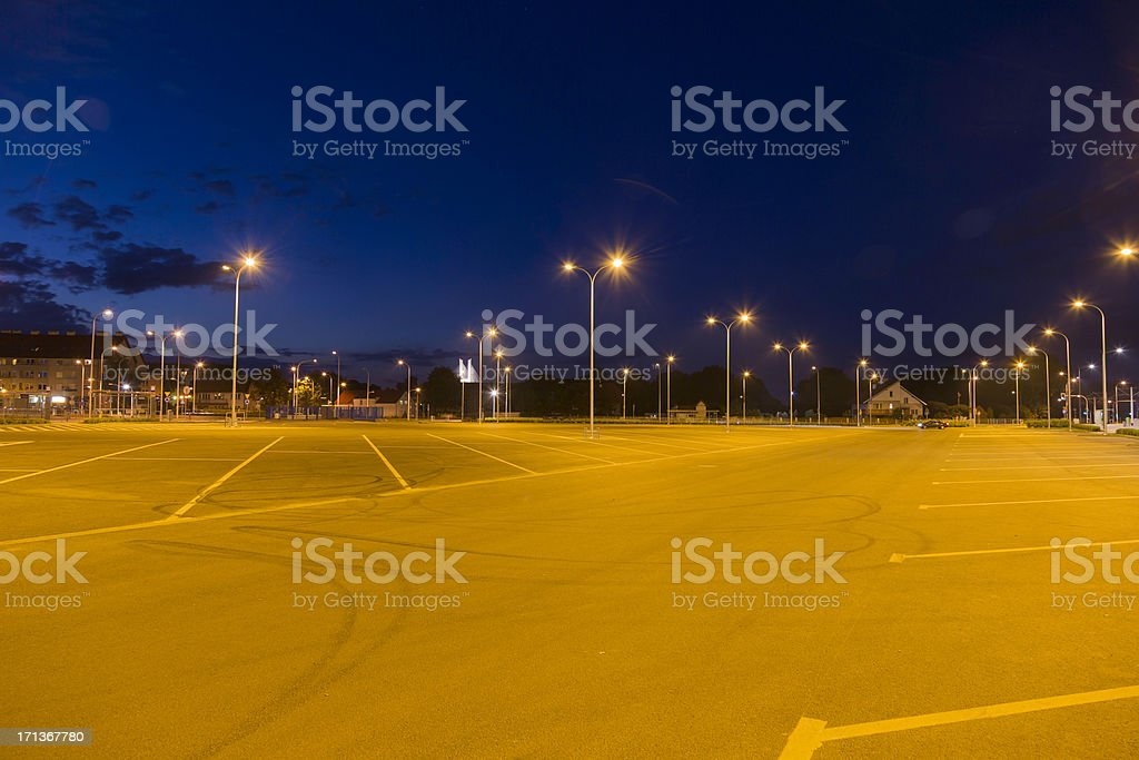 parking at night stock photo
