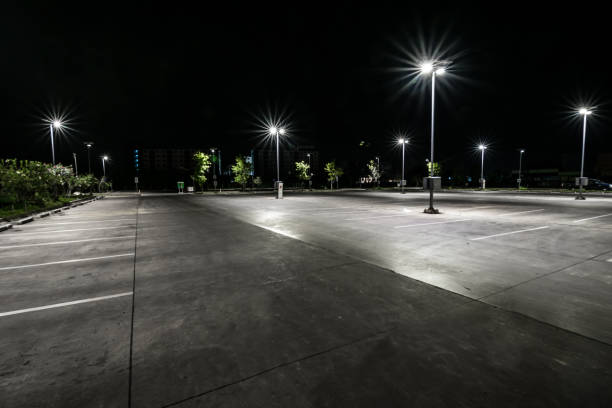Parking at night stock photo