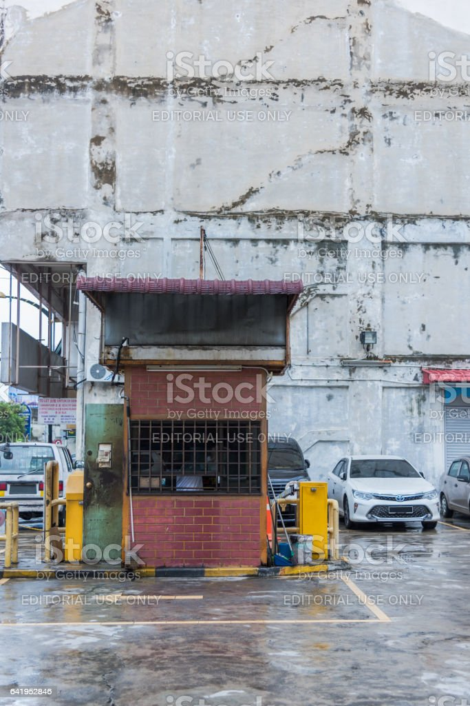 Parking attendant booth in Johor Bahru, Malaysia stock photo