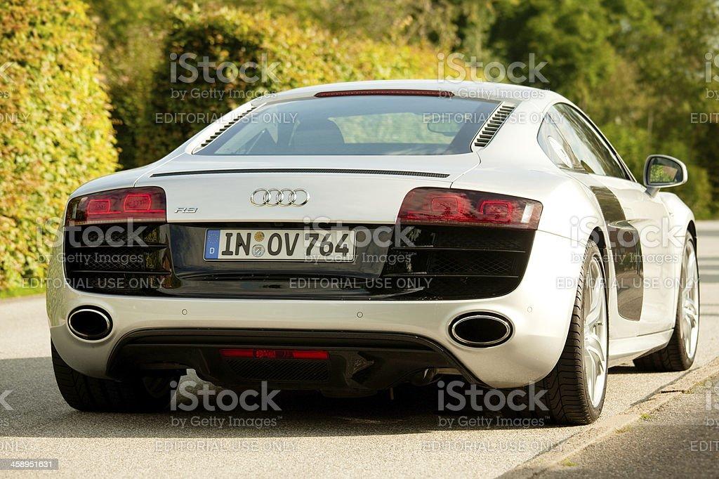 Parking Audi R 8 sports car in sunshine stock photo