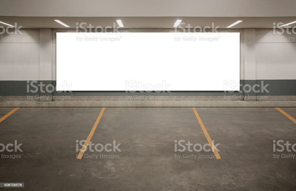 Parking blank billboard stock photo