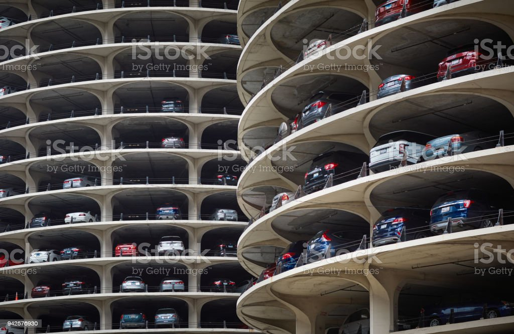 Parking building in Chicago stock photo