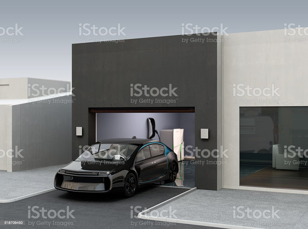 Parking car by automatic parking app concept stock photo