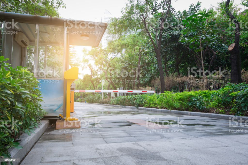 Parking entrance fee booth stock photo
