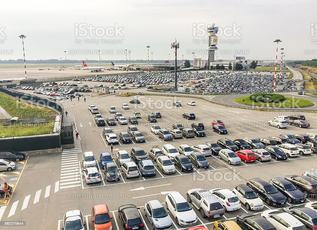 Parking exterior at the Malpensa airport stock photo