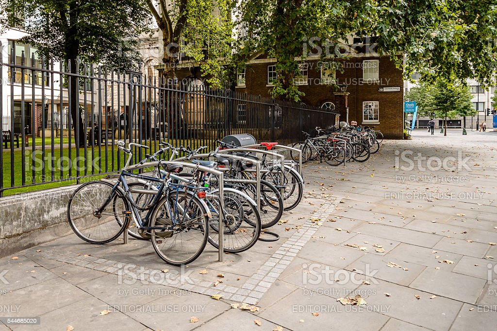 Parking for bicycles in London stock photo