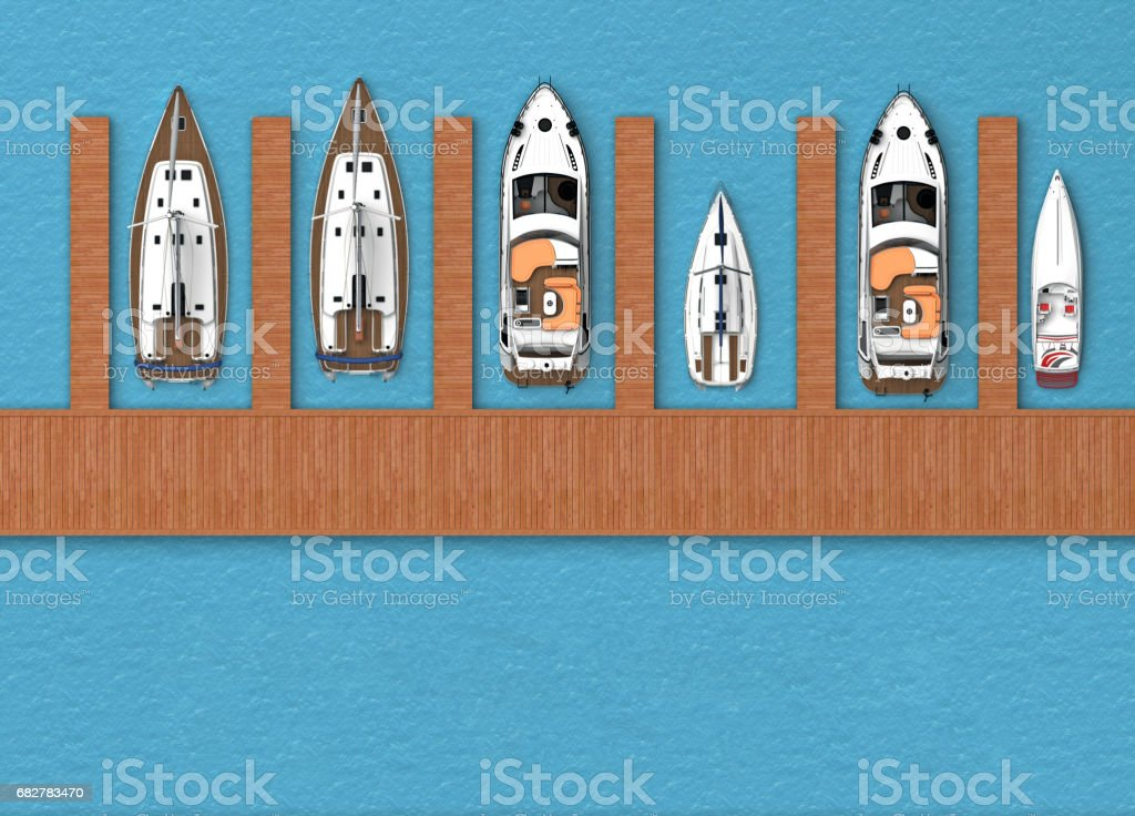 Parking for boats top view stock photo