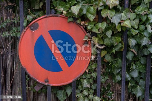 istock parking forbidden sign covered with leaves 1012519440