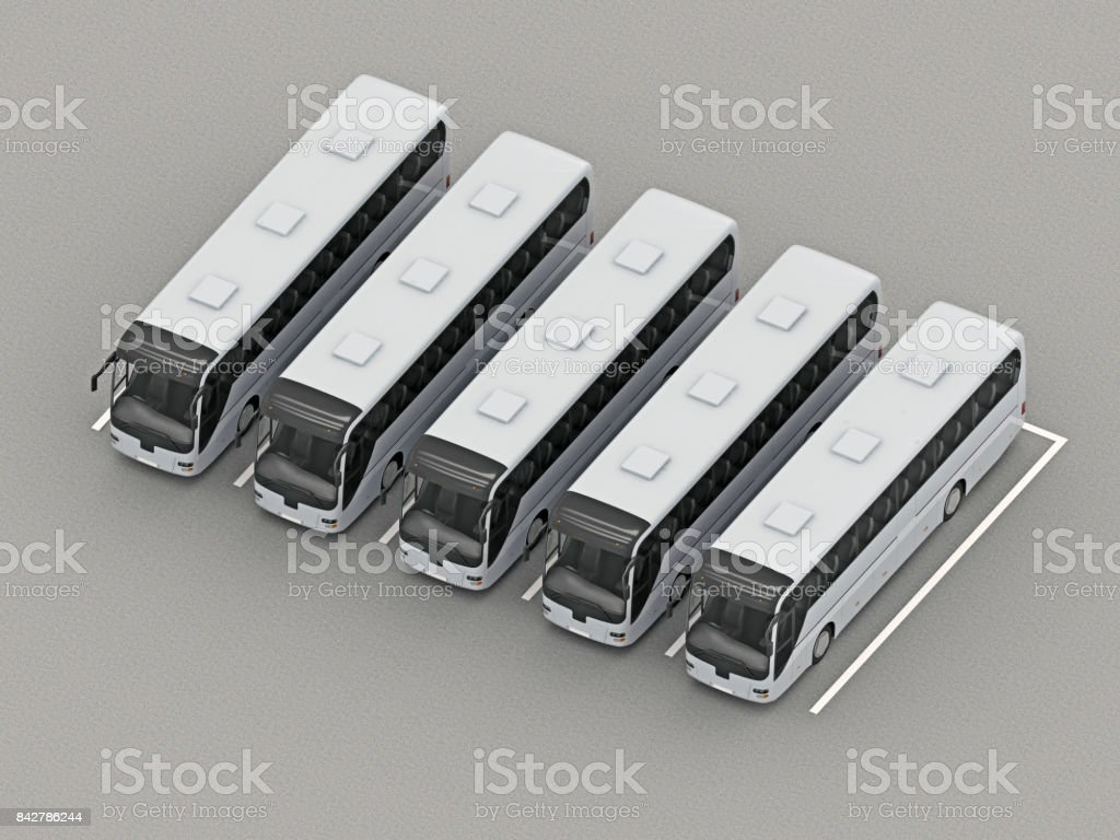 parking full group buses orthographic view stock photo