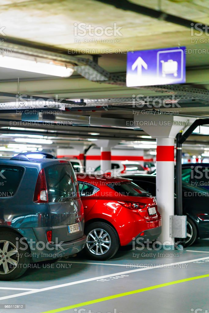 Parking garage and cars in Zermatt CH royalty-free stock photo