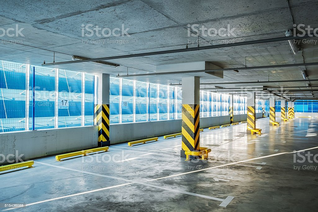 Parking garage underground, industrial interior stock photo