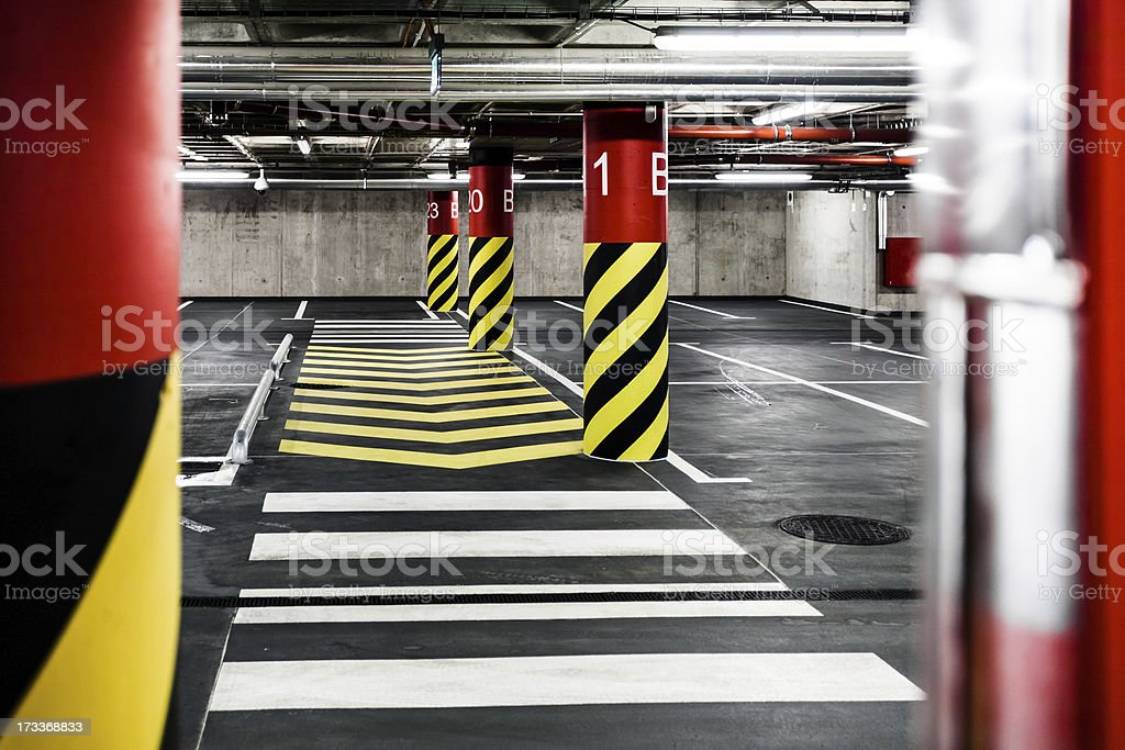 Parking garage underground interior royalty-free stock photo