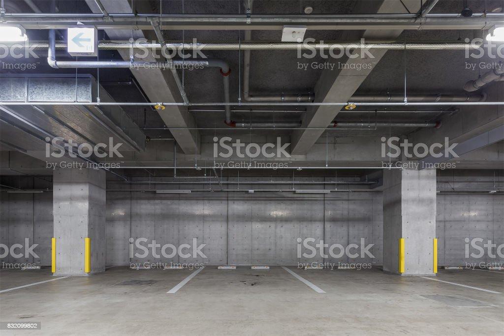 Parking garage underground interior stock photo