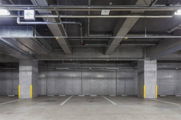 Parking garage underground interior stock photo