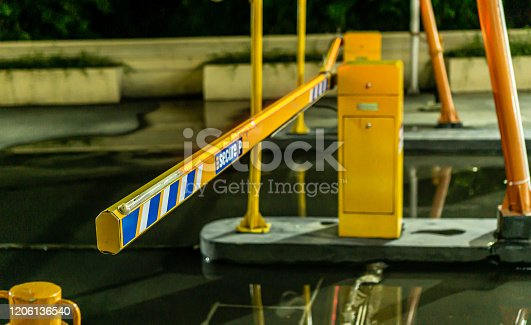 858738110 istock photo Parking gate 1206136540