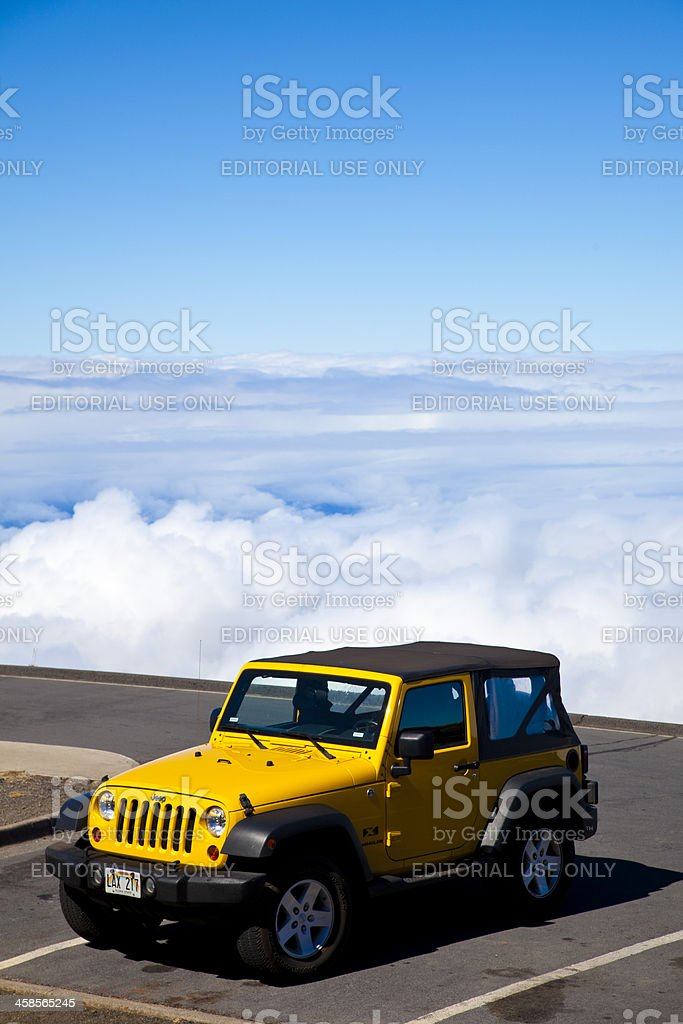 parking lot above the clouds stock photo