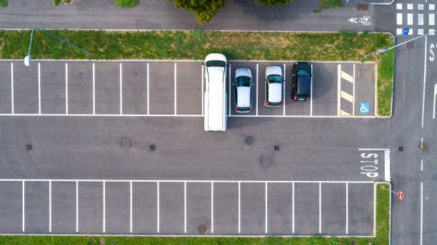 Parking lot aerial background stock photo