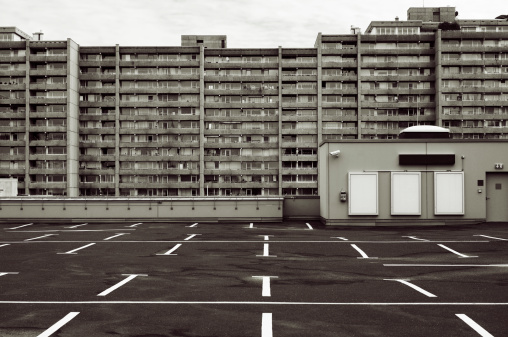 Parking lot and block of flats