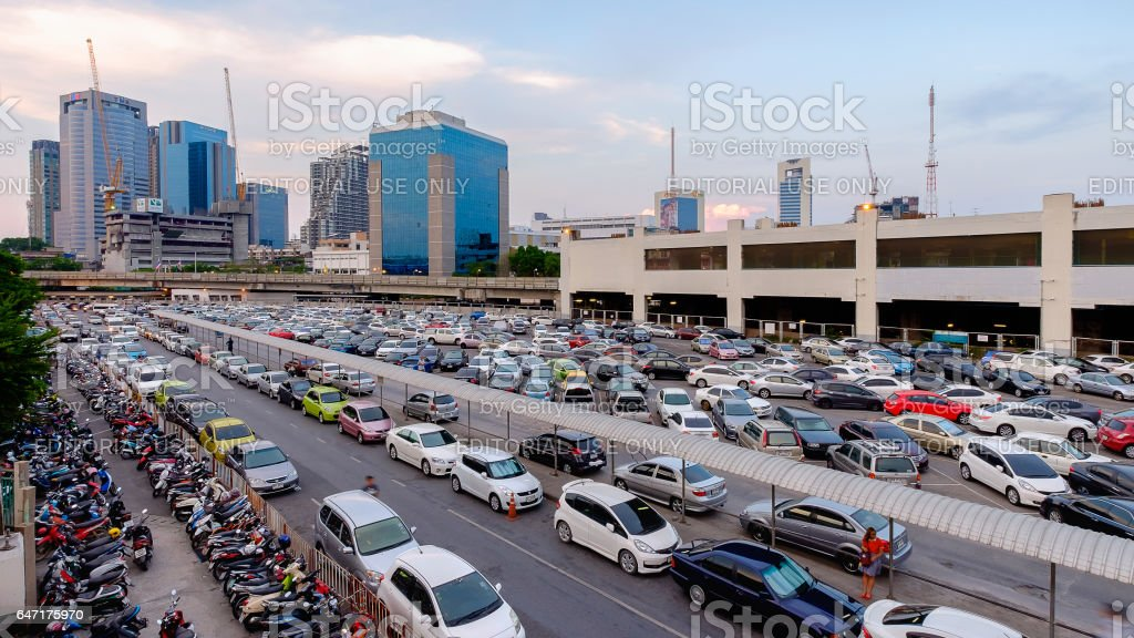 Parking lot and skyline next to Chatuchak Market stock photo