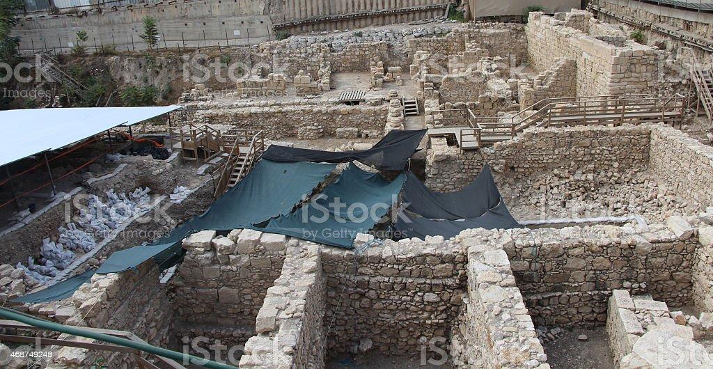 Parking Lot archeology in Jerusalem stock photo