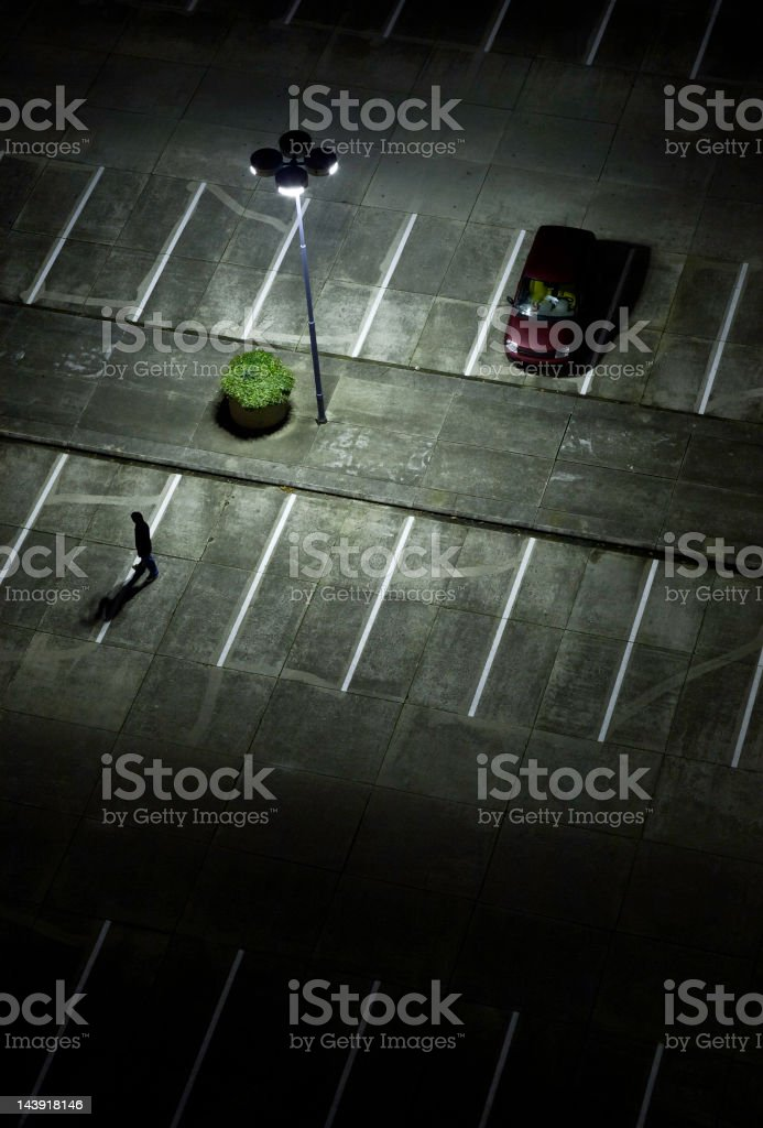 parking lot at night royalty-free stock photo
