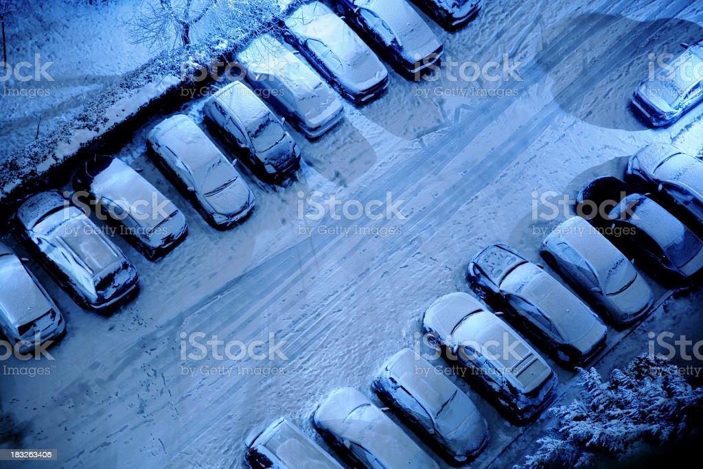parking lot at night stock photo