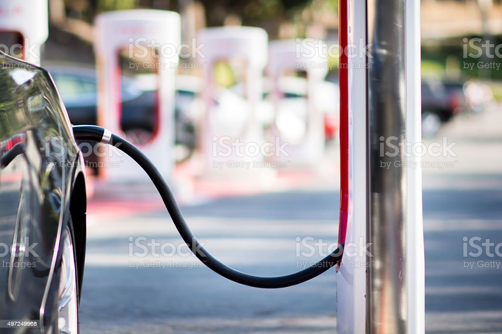 Parking lot for electric vehicles stock photo