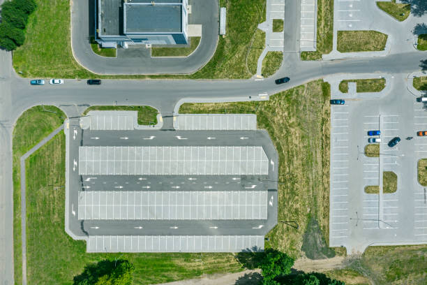 parking lot for residents of city district. aerial top drone view from above stock photo