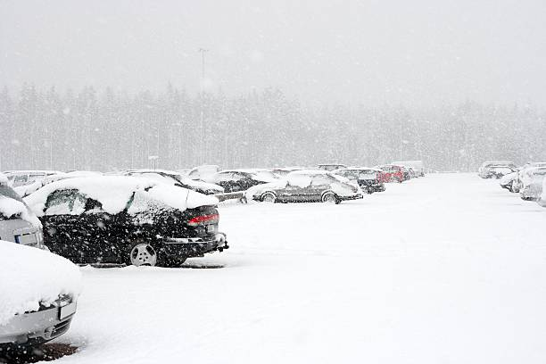 Parking lot full of cars covered in snow in winter