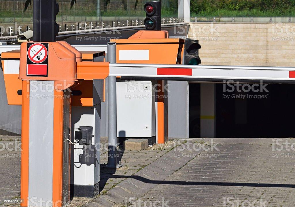Parking lot gate stock photo