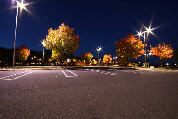 Parking lot in autumn at the harbour of Sundsvall Parking lot in autumn parking lot stock pictures, royalty-free photos & images