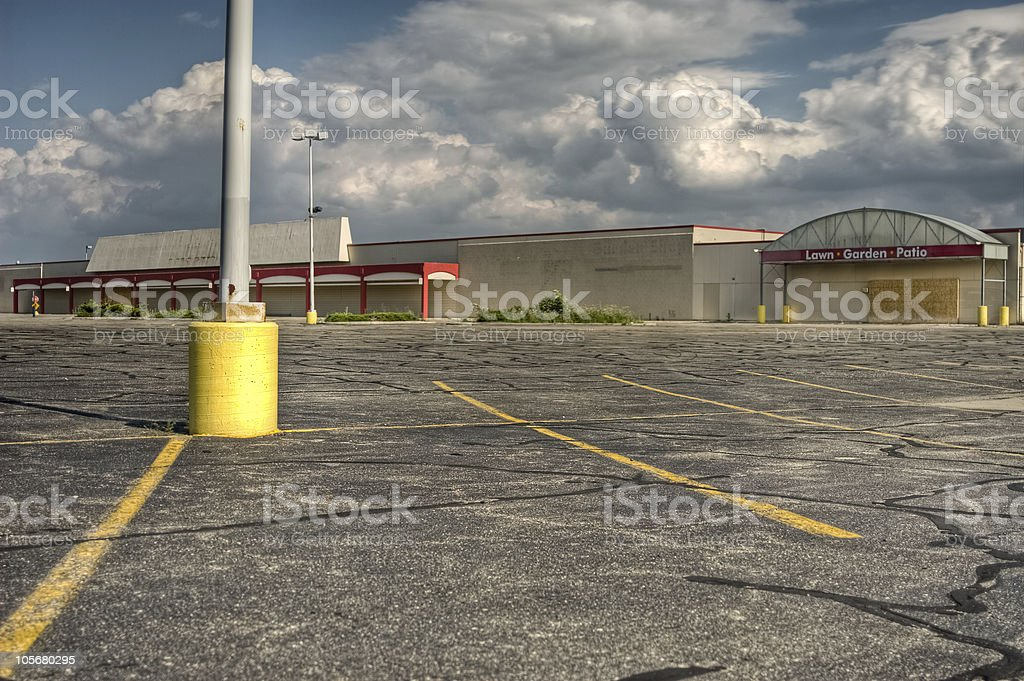 Parking lot in front of a big commercial store property stock photo