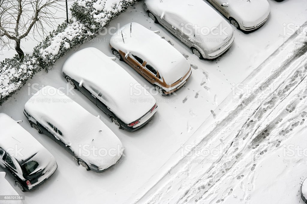 parking lot in snow royalty-free stock photo