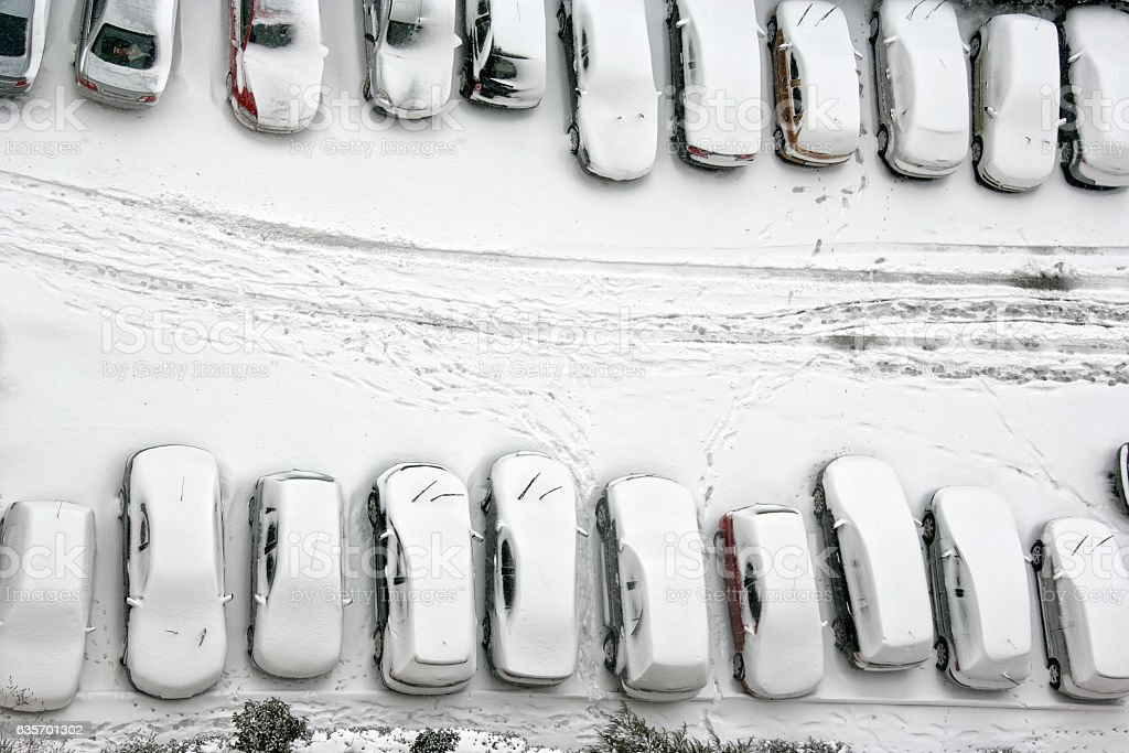 parking lot in snowy winter royalty-free stock photo