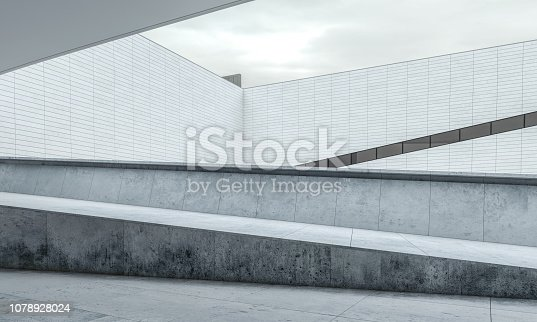 Parking lot modern concrete background stage