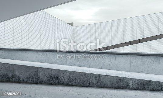 Parking lot modern concrete background stage