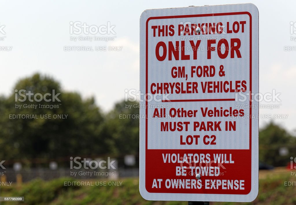 UAW Parking Lot stock photo