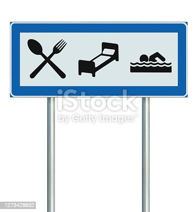 Parking Lot Road Sign Isolated, Restaurant, Hotel, Motel, Swimming Pool Icons, Roadside Signage Pole Post, Blue Frame, Black White Accommodation Resort Pointer Signpost Signboard