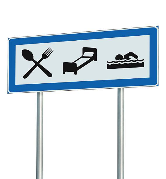 parkplatz-straßenschild isoliert, restaurant, hotel-motel, swimmingpool - badmöbel gäste wc stock-fotos und bilder