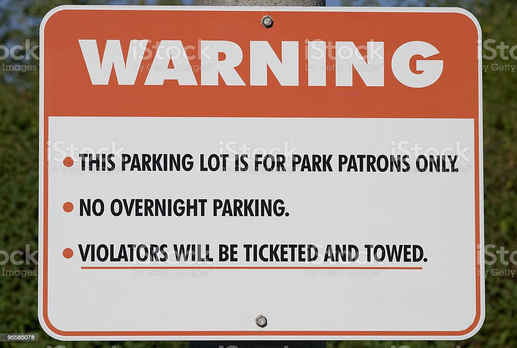 Parking lot warning royalty-free stock photo