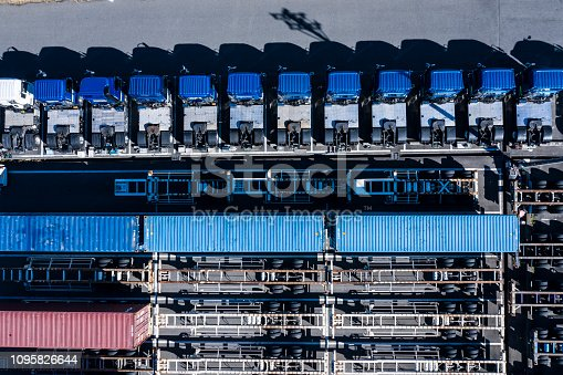 1142724396 istock photo Parking lot where transportation trucks are lined up 1095826644