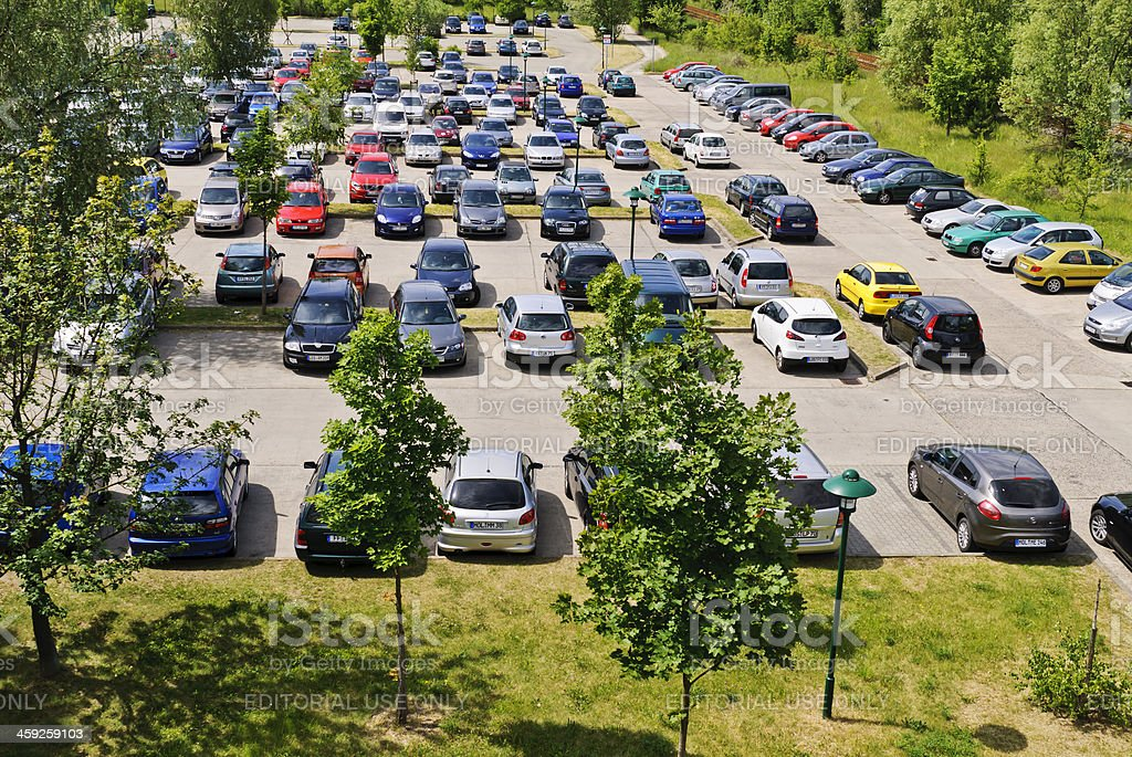Parking lot with cars stock photo