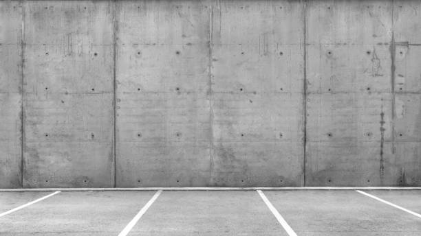 Parking Lots in a an Empty Garage stock photo