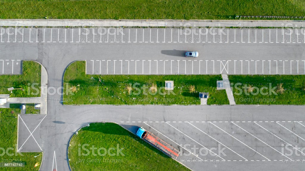 Parking lots, rest area at the dyke stock photo